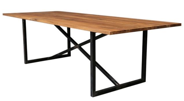 crossleg metal table base with acacia tabletop atom58 vintage inspired