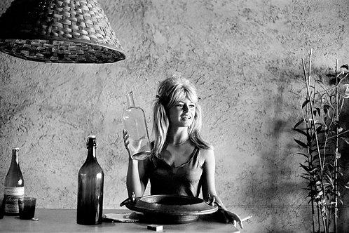 Brigitte Bardot with bottle Nr 35 Alu panel