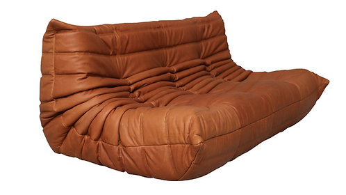 TOGO Ligne Roset Large Settee Cognac Leather