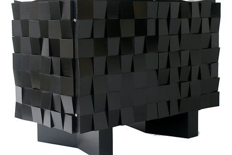 Belgian brutalist cabinet mozaic black lacquered, vintage, retro, mid-century style