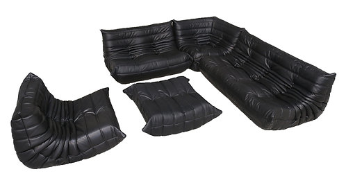 TOGO Ligne Roset Big Set in Black Leather