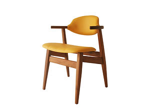 cowhorn chair yellow atom58 vintage desi
