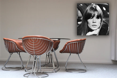 6 Vintage chrome design chairs in Full Grain Aniline