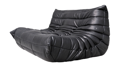 TOGO Small Settee Cover in Bellalu Signature Black Leather
