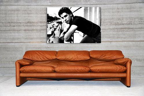 Italian vintage design leather sofa in cognac colour - 3 seat