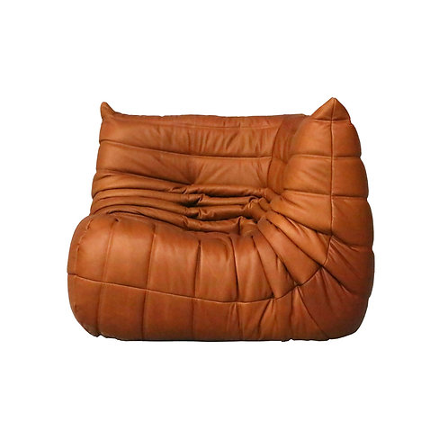 Your TOGO Corner Seat Re-Upholstered in Bellalu Cognac Leather
