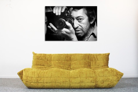 Exclusive Togo Ligne Roset 3 seater GOLD + Nr 1 Serge Gainsbourg with camera alu print