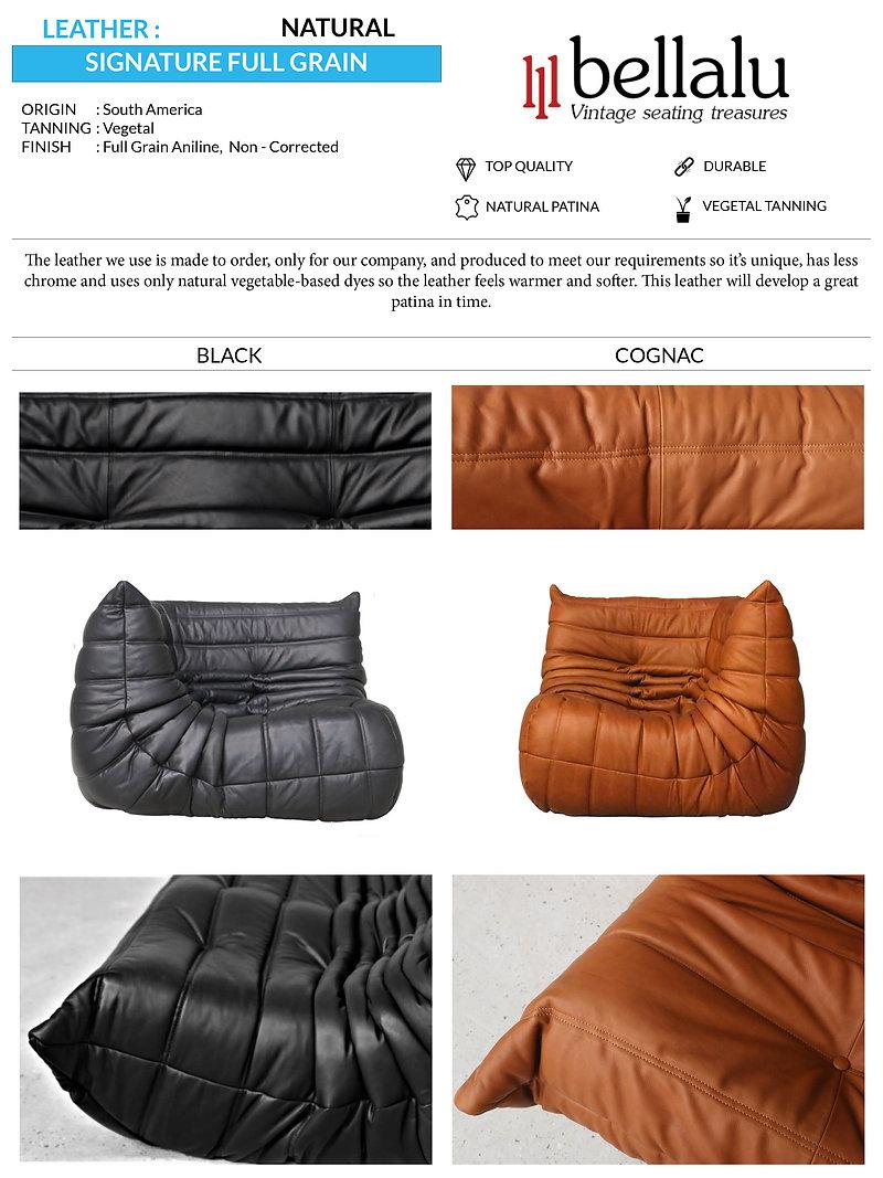 leather signature full grain black cogna