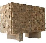 natural reclaimed teak brutalist mozaik cabinet, Belgian Brutalist cabinet