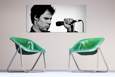 70s Italian design chairs green leather + Nr 29 Mark-Lanegan alu print