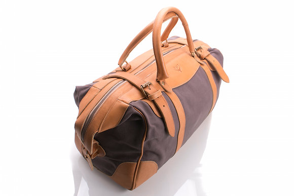 Small Travel Bag Leather & Canvas