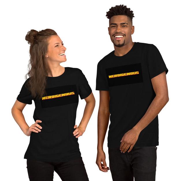 """NERDIGENOUS"" Black Unisex Athletic T-Shirt"