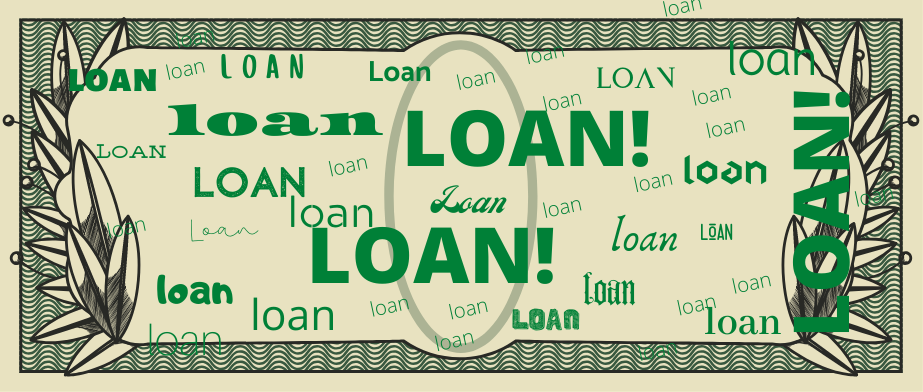 """Image of bank note with """"loan"""" written all over it"""