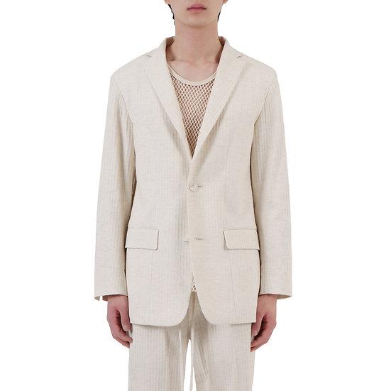 Embossed Stripe Linen Blazer
