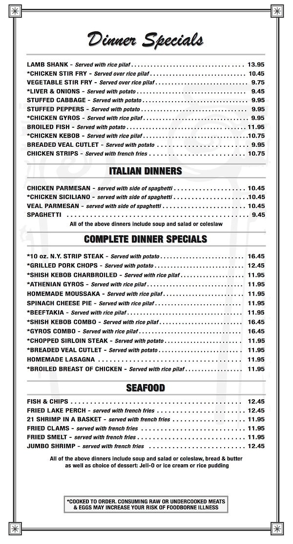 Dinner Specials Carryout Short Page 2019