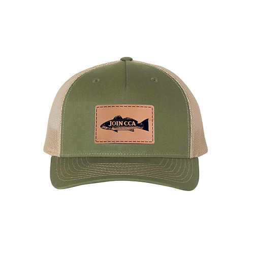Richardson Cap w/ Leather CCA Redfish Badge