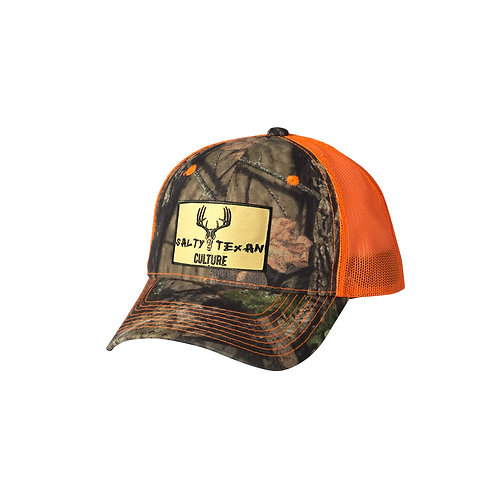 Mossy Oak Camo Cap w/ Salty Texan Culture Badge