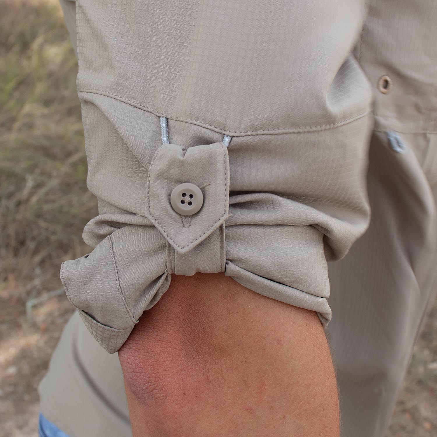 Pull-up sleeve loop and button