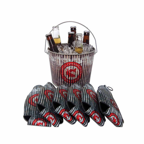 beverage bucket, ice bucket, beverage huggers, bottle huggers, sublimated, cca, cca texas, fishing, hunting, camping