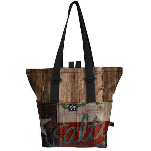 The Salty Texan Wood Pull Top 14 Tote