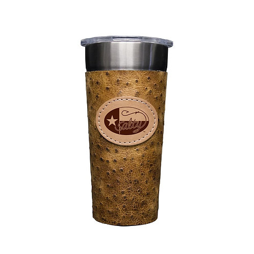 Stainless 24oz Cup W/ Rustic Ostrich Leather