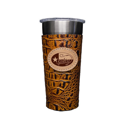 Stainless 24oz Cup W/ Cognac Leather