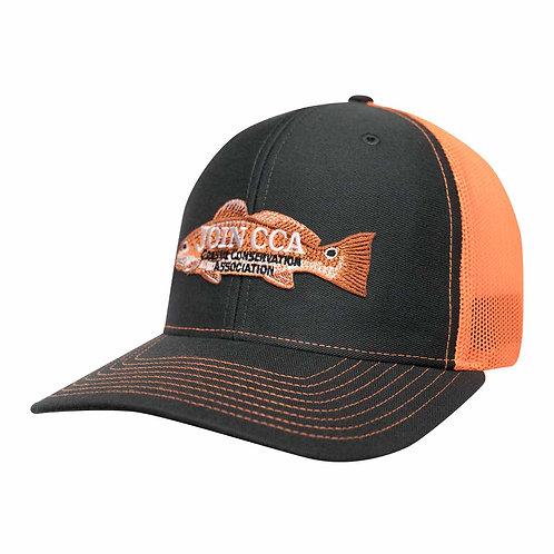 Charcoal Grey & Orange Mesh Richardson Cap w/ Redfish CCA Logo Patch