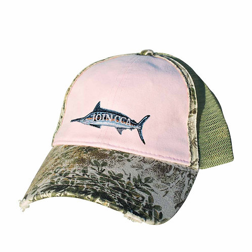 GameGuard Ladies Distressed Cap w/ Embroidered Marlin CCA Logo - Pink