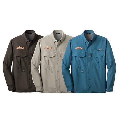 Eddie Bauer Long Sleeve Performance Fishing Shirt w/ Join CCA Badge