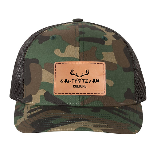 Richardson 112 Camo Cap w/ Leather Salty Texan Culture Badge
