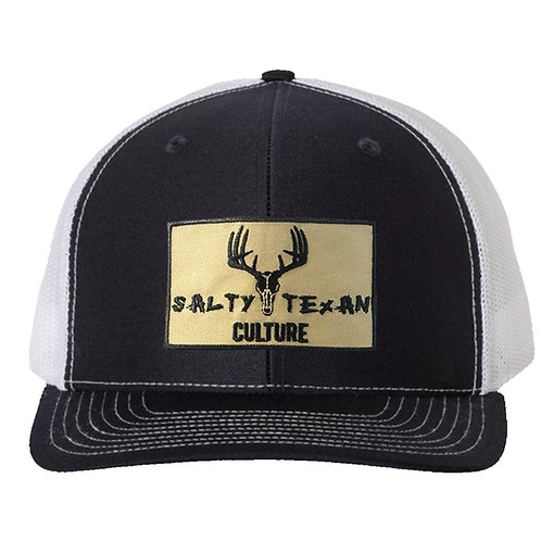 Richardson 112 Cap w/ Salty Texan Culture Badge - Black/White