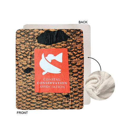CCA, Join CCA, Blanket, throw blanket, fishing blanket, warm blanket, redfish, redfish blanket