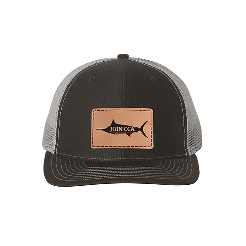 Richardson Cap w/ Leather CCA Marlin Badge - Black/Charcoal
