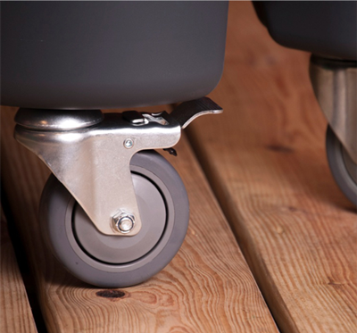 Stainless steel casters.