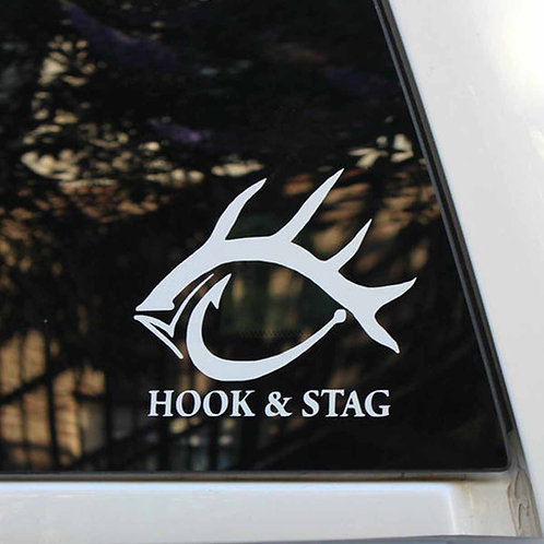 "Hook & Stag - White 5"" Sticker"
