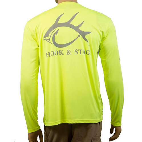 Hook and Stag Logo, Hook & Stag Logo, Hook and Stag, Hook & Stag, Safety Yellow, 50+UPF, Fishing Shirt, Long Sleeve,Wildthing