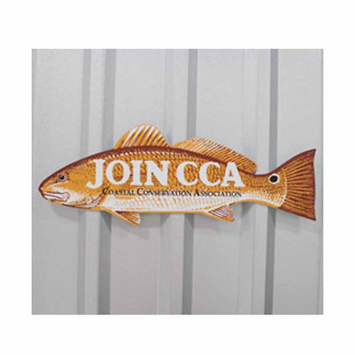 cca, cca texas, redfish sign, aluminum sign, join cca, texas sign, fish sign