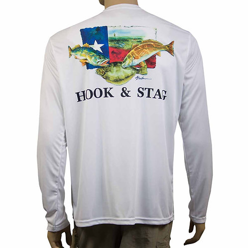 Texas Slam, Hook and Stag, Hook & Stag, H&S, Fishing, Don Breeden, Texas Art, Bay Fishing, Red Fish, 50+ UPF, Long Sleeve