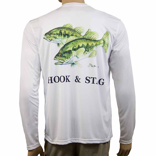 Two Bass, Texas Art, Don Breeden, Bass Fishing, Freshwater, Bass, Solar Protection, 50+ UPF, Long Sleeve