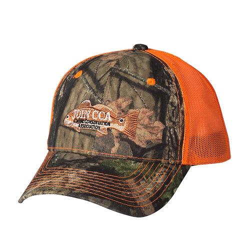 join cca cap, mossy oak cap, cca, neon orange cap