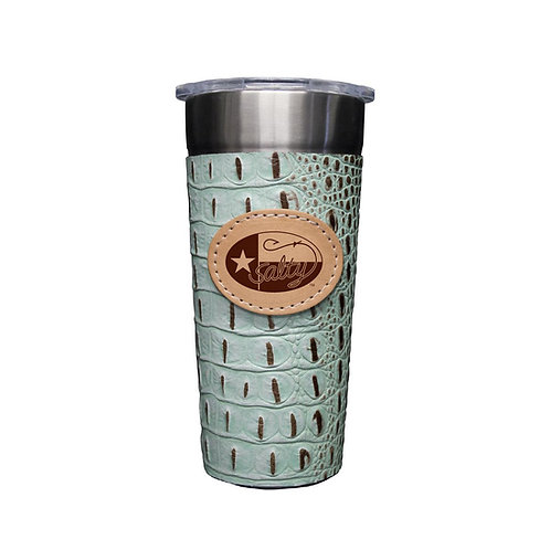 Stainless 24oz Cup W/ Mint Chip Gator Leather