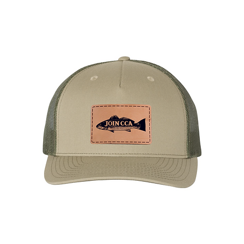 Richardson Cap w/ Leather CCA Redfish Badge - Pale Khaki/Loden