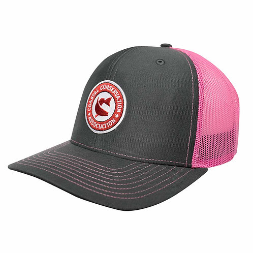 Grey/ Pink Mesh Richardson Cap w/ CCA Patch