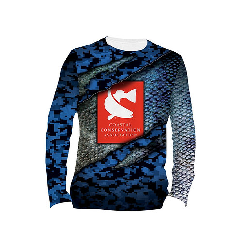 CCA Digital Camo Blue Scales Long Sleeve Performance Tee
