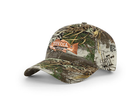 cca cap, redfish badge cap, realtree camo cap, redfish camo hat