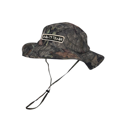 PACIFIC HEADWEAR- MOSSY OAK CAMO BOONIE W/ DRAW CORD & SALTY TEXAN BADGE