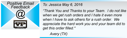 Rush Order Appreciation!