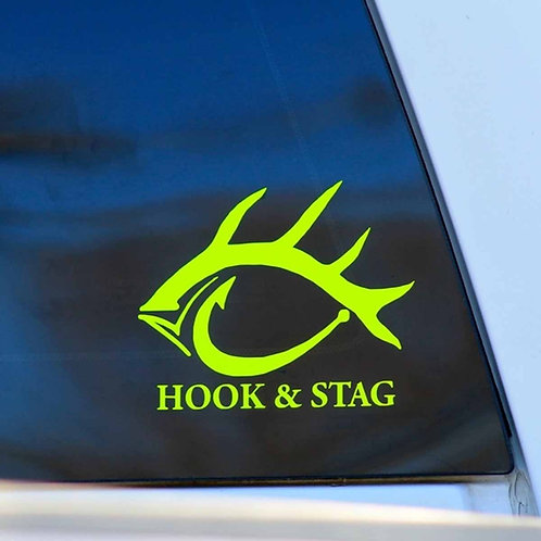 """Hook & Stag - Safety Yellow 5"""" Sticker"""