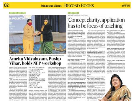 #Amrita Vidyalayam, Pushp Vihar, holds NEP workshop . #Hindustan Times Report