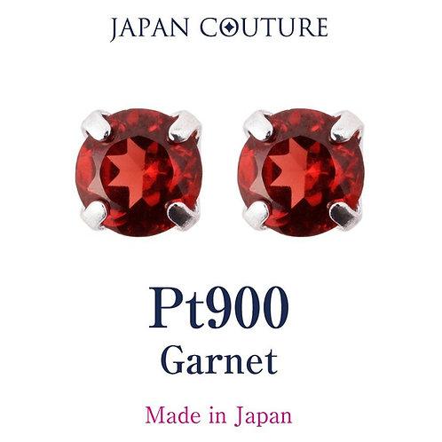 Dress in charm 1月誕生石 ガーネット  3mm Pt900 スタッドピアス